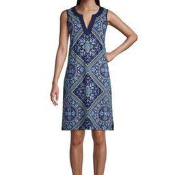 Women's Cotton Jersey Sleeveless Swim Cover-up Dress Print   Lands' End (US)