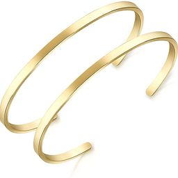 Lolalet 2 Pack Oval Thin Cuff Bracelet, Christmas Gift for Girlfriend Wife Mom, 18K Rose Gold/Gol... | Amazon (US)