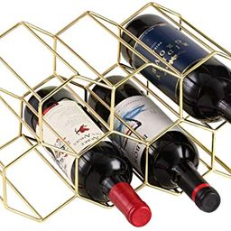 7 Bottles Metal Wine Rack, Countertop Free-Stand Wine Storage Holder, Space Saver Protector for R... | Amazon (US)