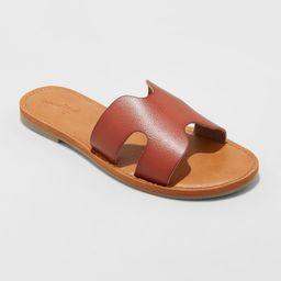 Women's Jenny Wide Width Faux Leather Slide Sandals - Universal Thread™ 5W | Target