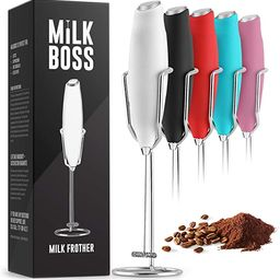 Milk Boss Powerful Milk Frother Handheld With Upgraded Holster Stand - Coffee Frother Electric Ha... | Amazon (US)