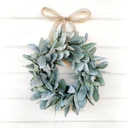 MINI Lambs Ear Wreath-Small Wreath-Lambs Ear Wreath-Window Wreath-Small Wreath-Country Cottage Wr...   Etsy (US)