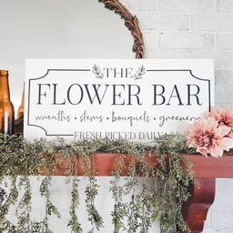 The Flower Bar, Floral Wall Decor, Flower Market Spring Sign, Floral Wood Sign, Spring Sign, Farm...   Etsy (US)