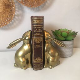 Mid Century Brass Bunny Bookends | Etsy (US)