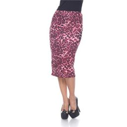 White Mark 719-03-S Women Polyester Cynthia Pencil Skirt, Red Cheetah - Small | Walmart (US)