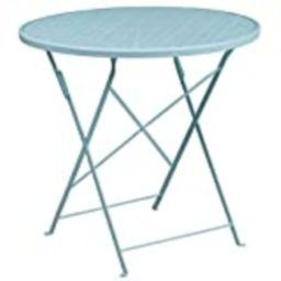 """Flash Furniture Commercial Grade 30"""" Round Sky Blue Indoor-Outdoor Steel Folding Patio Table   Amazon (US)"""