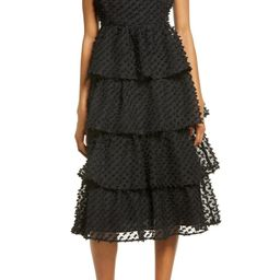 Lulus Flirting with You Pompom Tiered Ruffle Cotton Blend Dress | Nordstrom | Nordstrom