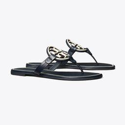 Miller Metal-Logo Sandal, Leather   Tory Burch (US)