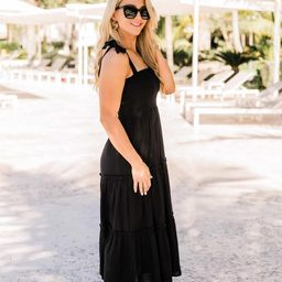 For Your Heart Only Black Midi Dress | The Pink Lily Boutique