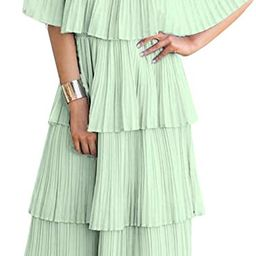 ETCYY NEW Women's Off The Shoulder Sleeveless Tiered Ruffle Pleated Casual Midi Dress   Amazon (US)