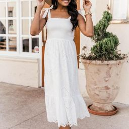 Promise In My Heart White Lace Midi Dress | The Pink Lily Boutique