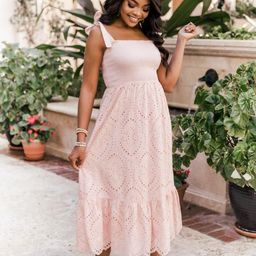 Promise In My Heart Blush Lace Midi Dress | The Pink Lily Boutique