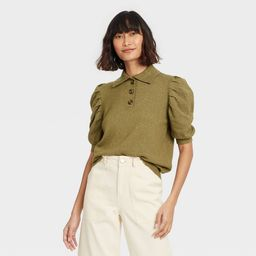 Women's Puff Elbow Sleeve Crewneck Pullover Sweater - Who What Wear Green L   Target