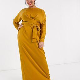 ASOS DESIGN Curve wrap waist batwing sleeve maxi dress | ASOS (Global)