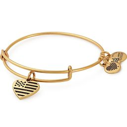"Alex & Ani Alex and Ani """"Heart Flag """"Adjustable Wire Bangle Charm Bracelet | HSN"
