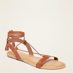 Strappy Faux-Leather Lace-Up Sandals for Women | Old Navy (US)