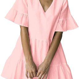 FANCYINN Women's Cute Shift Dress with Pockets Fully Lined Bell Sleeve Ruffle Hem V Neck Loose ... | Amazon (US)
