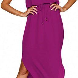 NERLEROLIAN Women's Adjustable Strappy Split Summer Beach Casual Midi Dress | Amazon (US)