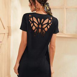 SHEIN Butterfly Cutout Back T-Shirt Dress | SHEIN