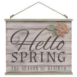 Transpac Wood 12 in. Brown Easter Hello Spring Hanging Decor | Target