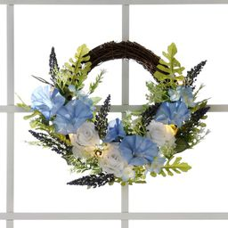 Lakeside Lighted Faux Blue Florals Wall Hanging Easter Wreath - Artificial Holiday Accent | Target