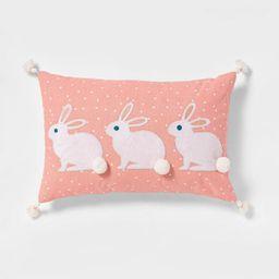 Lumbar Triple BunnyPlushApplique Easter Pillow Blush -Spritz™ | Target
