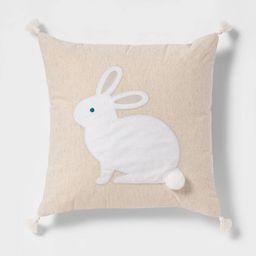 Square Plush Bunny AppliqueEaster Pillow Natural - Spritz™ | Target