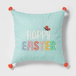 Square Embroidered and PrintedHappy Easter Pillow Aqua - Spritz™ | Target
