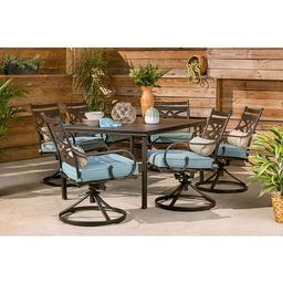 """Hanover Montclair 7-Piece Dining Set in Ocean Blue with 6 Swivel Rockers and a 40"""" x 67"""" Dining T...   Walmart (US)"""