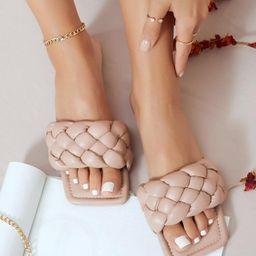 Vegan Leather Braided Strap Slide Sandals | SHEIN
