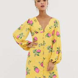 Never Fully Dressed button through mini dress with blouson sleeve in multi floral print | ASOS (Global)