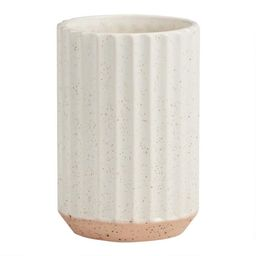 Tall White and Terracotta Speckled Ribbed Vase | World Market