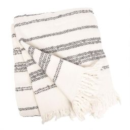 Ivory And Gray Stripe Chenille Throw Blanket | World Market