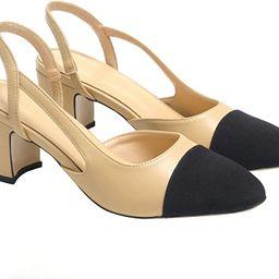 LEHOOR Chunky Heel Slingback Pumps Cap Toe Tow Toned for Women, Mid Block Heel Almond Pointy Toe ... | Amazon (US)