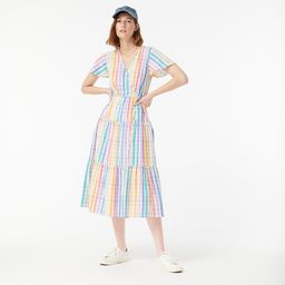 Faux-wrap dress in rainbow gingham   J.Crew US