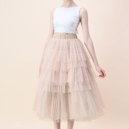 Love Me More Layered Tulle Skirt in Nude Pink | Chicwish