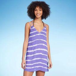 Juniors' Strappy Back Cover Up Dress - Xhilaration™ Purple Tie-Dye Print | Target