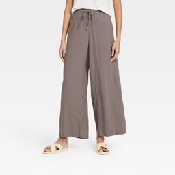 Women's Mid-Rise Wide Leg Pants - A New Day Brown XL   Target