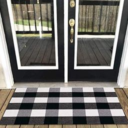 Levinis Buffalo Check Rug - Cotton Washable Porch Rugs Door Mat Hand-Woven Checkered Plaid Rug fo...   Amazon (US)