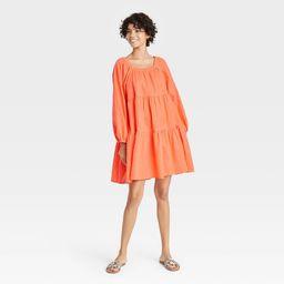 Women's Puff Long Sleeve Tiered Dress - Universal Thread Orange L   Target