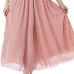 Women's Long Chiffon Skirt Pleated Retro Beach Skirts A-line Maxi Dress | Amazon (US)