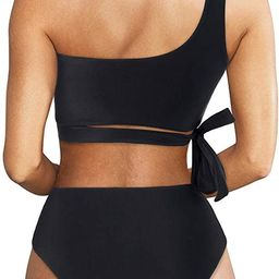 Women One Shoulder High Waisted Bikini Tie High Cut Two Piece Swimsuits | Amazon (US)