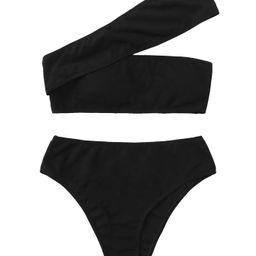 Women's Bathing Suits One Shoulder Ribbed Bikini Set High Waisted Swimsuits | Amazon (US)