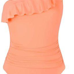 Women's One Piece Swimsuits One Shoulder Swimwear Asymmetric Ruffle Monokinis Bathing Suits | Amazon (US)