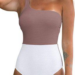 Women's One Piece Swimsuit Color Block One Shoulder Bowknot Bathing Suit | Amazon (US)
