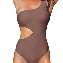 Women's One Piece Swimsuit One Shoulder Cut Out Ribbed Swimwear Bathing Suits | Amazon (US)