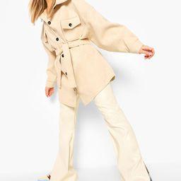 Womens Oversized Belted Wool Look Shacket - Beige - 10 | Boohoo.com (US & CA)