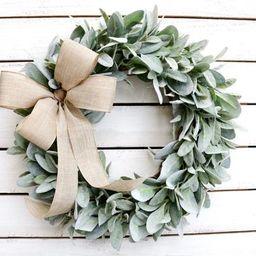 Lamb's Ear Wreath, Farmhouse Wreath, Year Round Wreath, Front Door Wreath, Wedding Wreath, Spring... | Etsy (US)