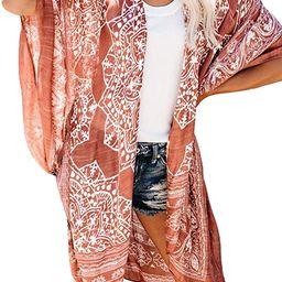 Women Print Kimono Cardigan V Neck Loose Beach Cover Up | Amazon (US)