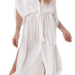 Womens Bikini Cover Ups Beach Casual Dress Coverup Swimsuits Long Cardigan Button   Amazon (US)